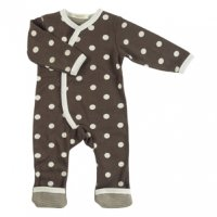 Organic Spotty Kimono Baby Romper Suit in Brown
