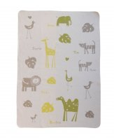 Large Juwel Blanket by David Fussenegger - Animal Names in Cream