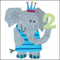 Birthday Card - Age 2 with Elephant