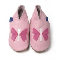 Pink Flutterby Leather Baby Shoes