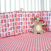Cot Bumper and Sheet in Kitty Print from Cloud Cuckoo