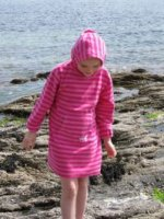 Cassis & Pink Towelling Long Hooded Robe from Mitty James