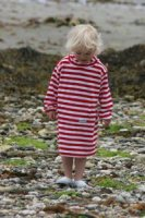 Red & White Towelling Long Hooded Robe from Mitty James