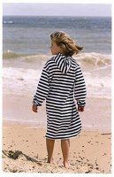 Navy & White Towelling Long Hooded Robe from Mitty James