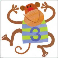 Birthday Card - Age 3 with Monkey