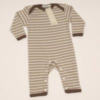organic breton striped romper suit in rust and ivory