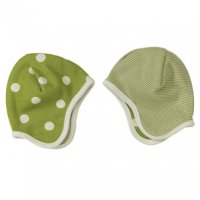 Organic Reversible Baby Bonnet Hat in Green Spots & Stripes