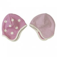 Organic Reversible Baby Bonnet Hat in Brown Spots & Stripes
