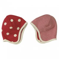 Organic Reversible Baby Bonnet Hat in Red Spots & Stripes