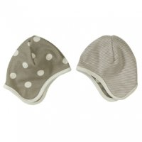 Organic Reversible Baby Bonnet Hat in Taupe Spots & Stripes