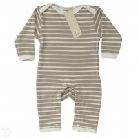 Organic Breton Striped Romper Suit in Taupe and Ivory