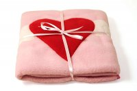 Appliqued Fleece Blanket - Pink Heart