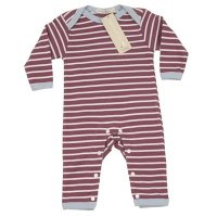 Breton Stripe Romper Suit in Raspberry from Organics for Kids