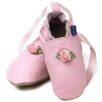 Pink Rose Ballet Leather Baby Shoes