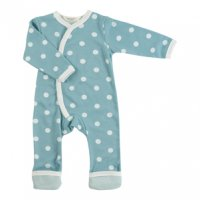 Organic Spotty Kimono Baby Romper Suit in Duck Egg Blue