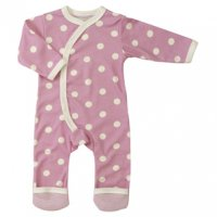 Organic Spotty Kimono Baby Romper Suit in Pink