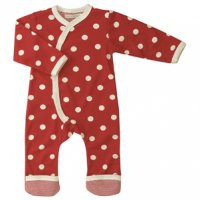 Organic Spotty Kimono Baby Romper Suit in Red