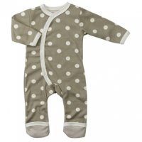 Organic Spotty Kimono Baby Romper Suit in Taupe