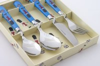 Childrens Four Piece Cutlery Set in Toy Solider
