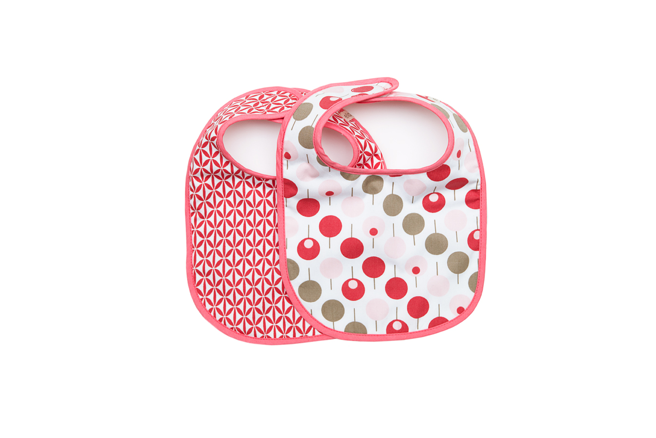 Ella & Otto bib set in Lollipop Tea Rose