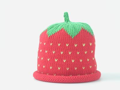 merry berry strawberry knitted baby hat